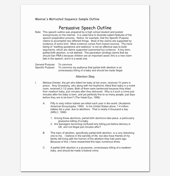 Persuasive Outline Sample Inspirational Persuasive Speech Outline Template 15 Examples Samples