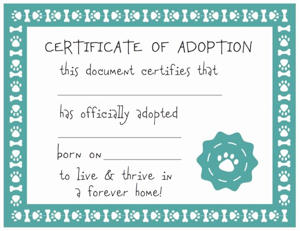 Pet Adoption Certificate Template Beautiful Host An Adopt A Puppy Party In 2019