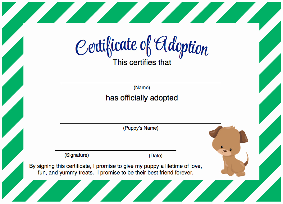 Pet Adoption Certificate Template Free Awesome Puppy Party Adopt A Puppy Certificate Free Printable