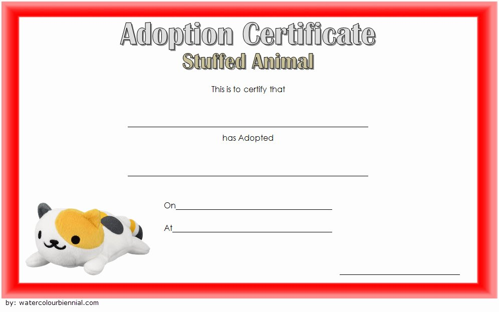 Pet Adoption Certificate Template Free Inspirational 7 Stuffed Animal Adoption Certificate Editable Templates