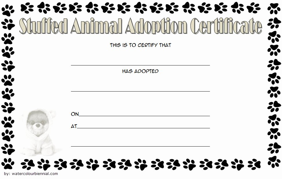 Pet Adoption Certificate Template Free Lovely 7 Stuffed Animal Adoption Certificate Editable Templates