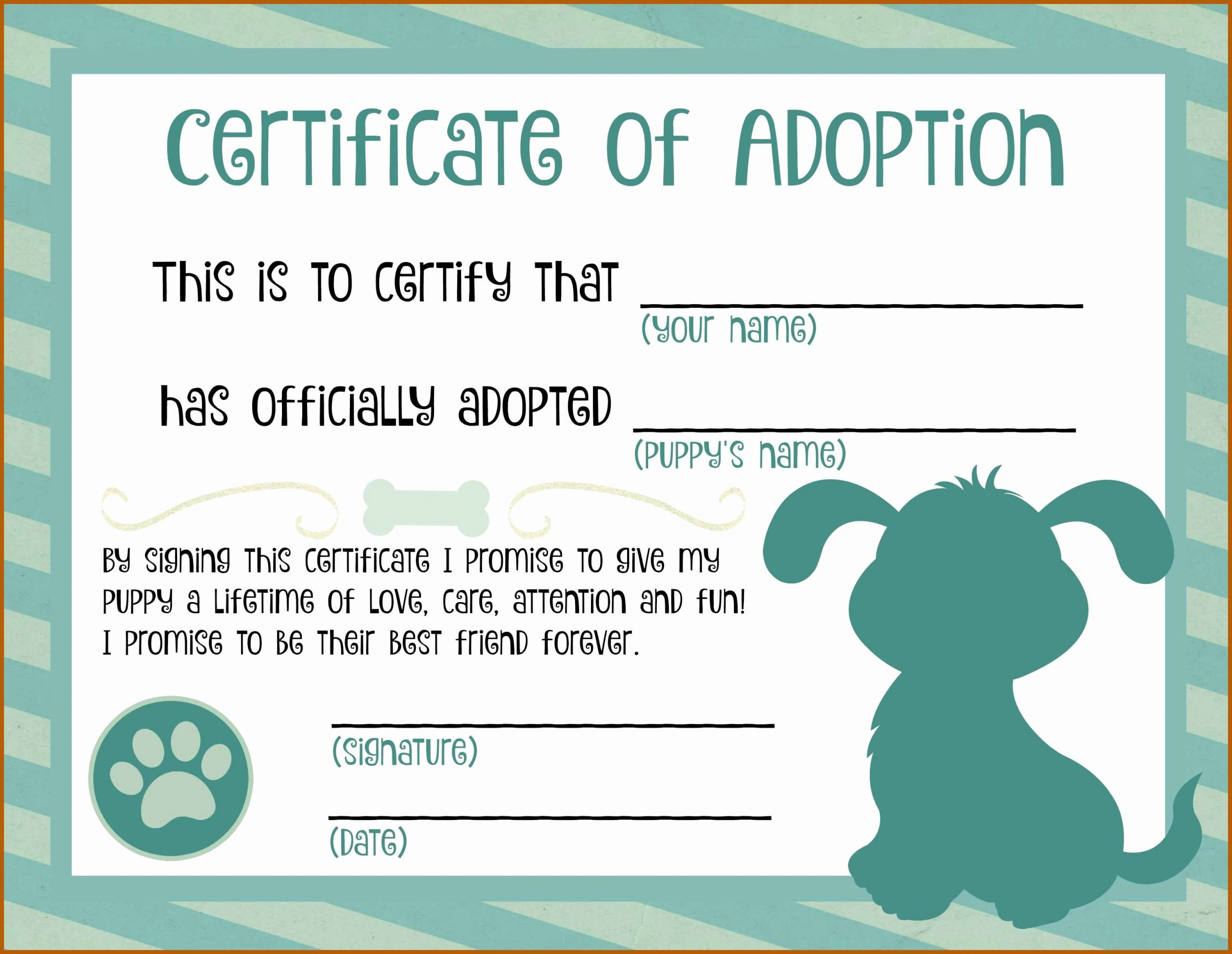 Pet Adoption Certificate Template Inspirational 2 3 Printable Pet Adoption Certificate