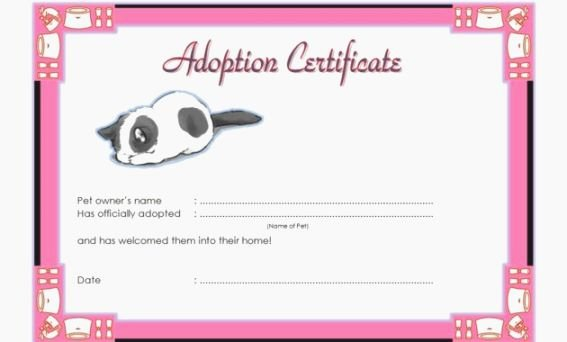 Pet Adoption Certificate Template Lovely Mesmerizing Free Printable Adoption Certificate