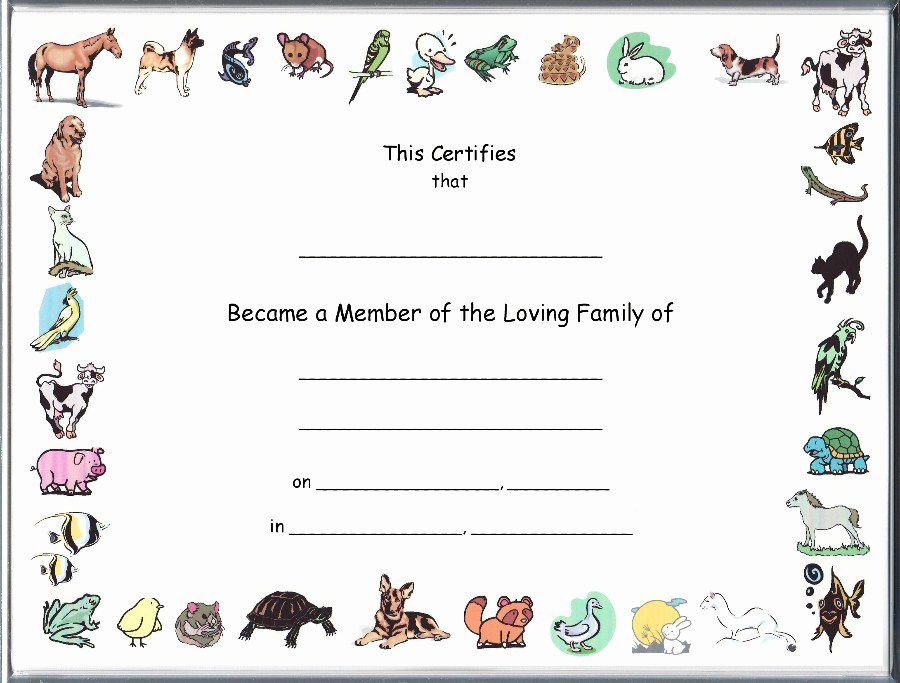 Pet Adoption Certificate Template Unique Other Pet Adoption Certificates Main Page