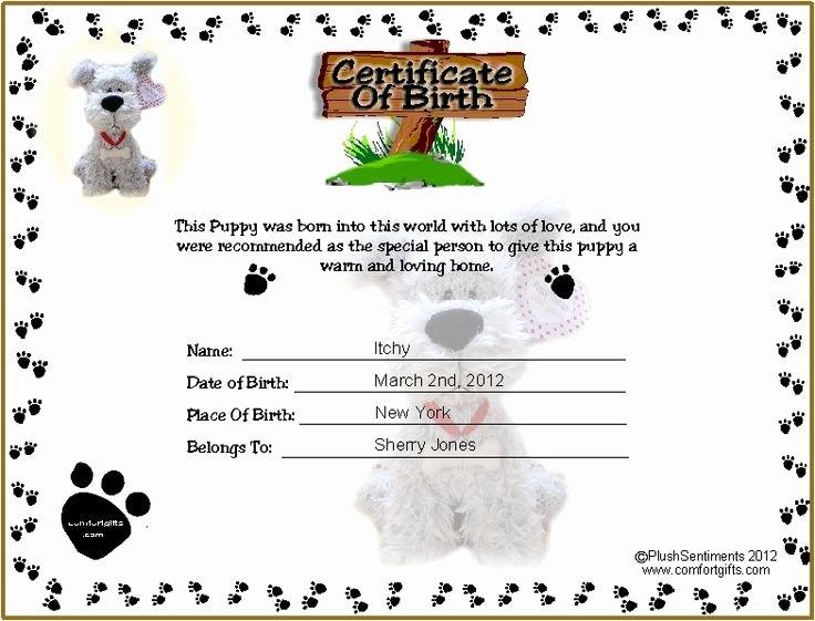 Pet Birth Certificate Template New Printable Puppy Birth Certificate Template Tattoos