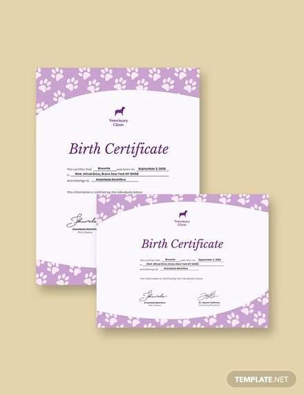 Pet Birth Certificate Template Unique Free 17 Birth Certificate Templates In Illustrator