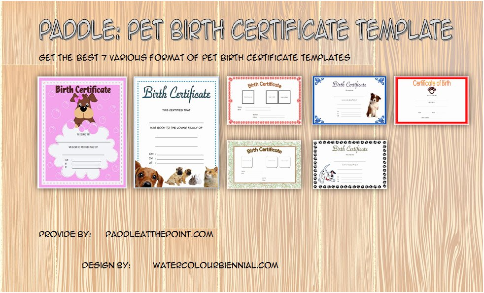 Pet Birth Certificate Template Unique Pet Birth Certificate Template 7 Editable Designs Free
