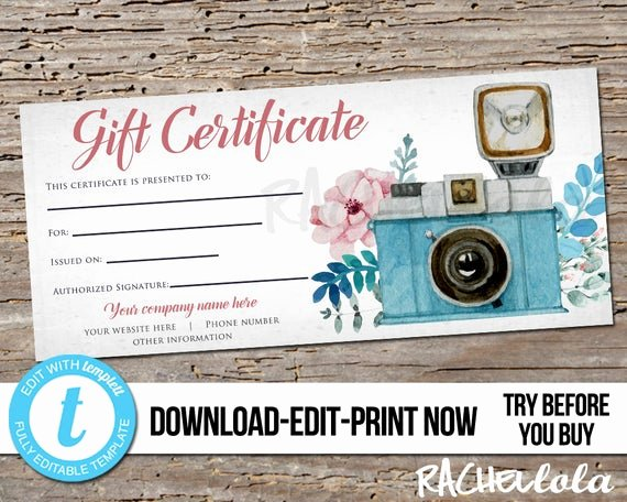 Photo Session Gift Certificate Template Fresh Editable Custom Floral Camera Printable Gift Certificate