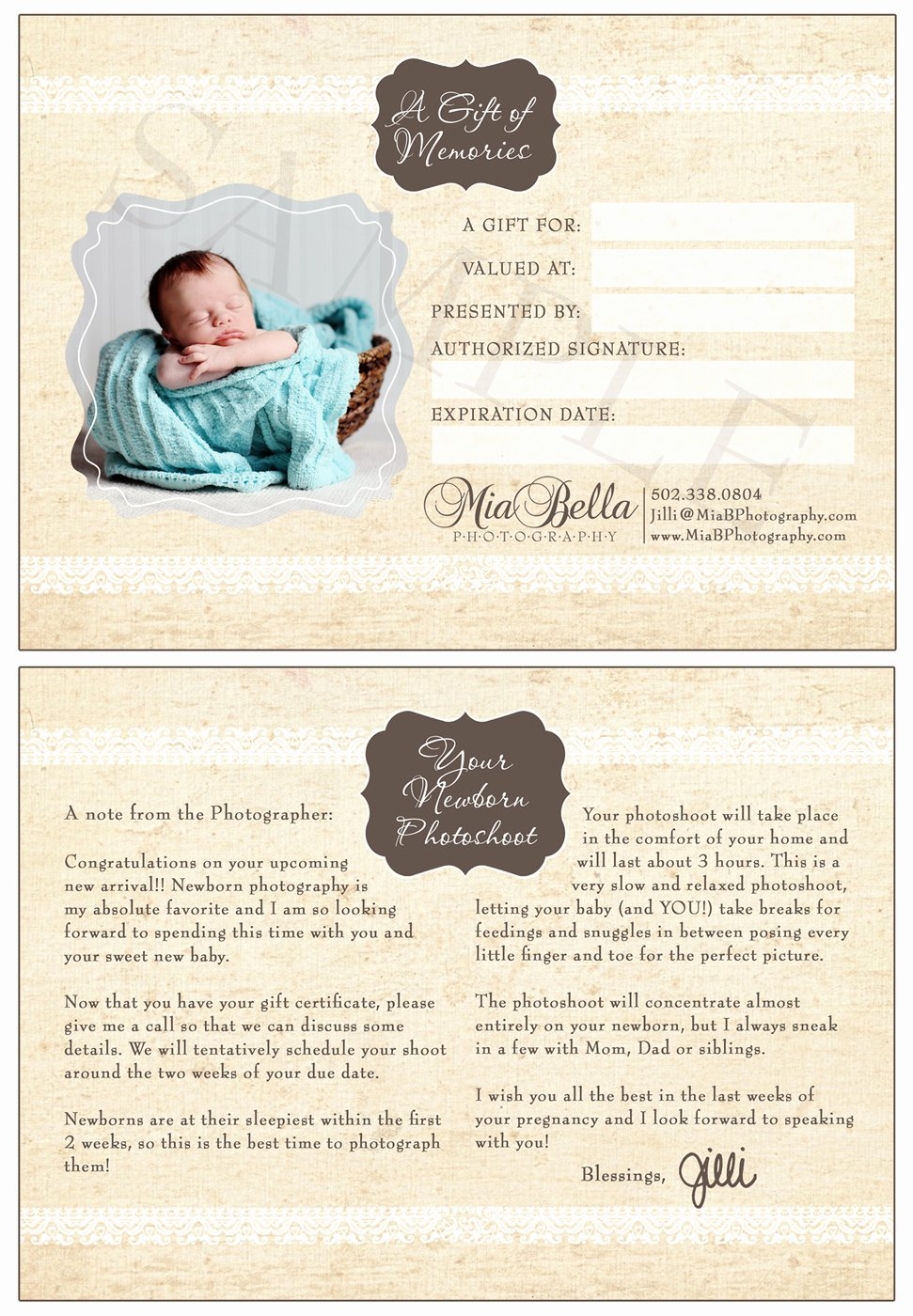 Photo Session Gift Certificate Template Inspirational Mia Bella Photography Newborn Shoot Gift