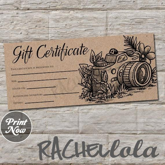 Photo Session Gift Certificate Template Lovely Rustic Kraft Printable Graphy Gift Certificate