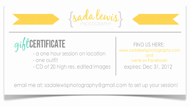 Photo Session Gift Certificate Template New Sada Lewis Graphy Gift Certificates – now Available