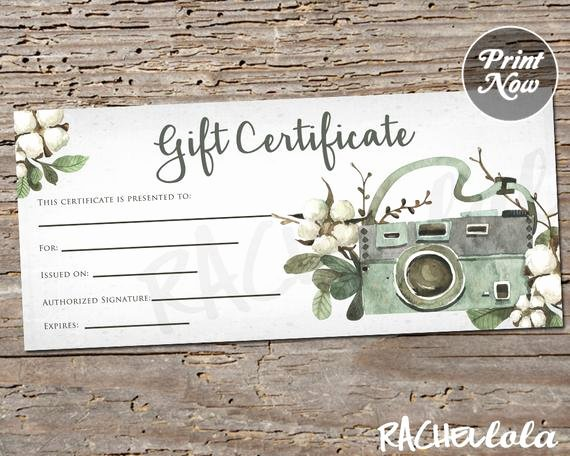 Photographer Gift Certificate Template Beautiful Floral Cotton Camera Printable Gift Certificate Template