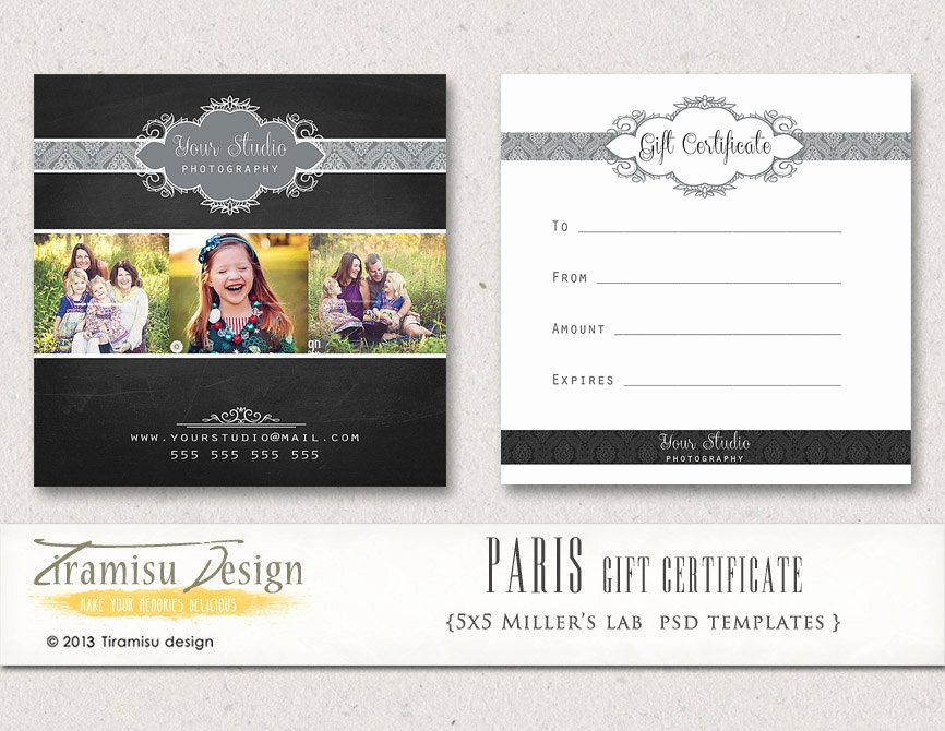 Photographer Gift Certificate Template Elegant Graphy Gift Certificate Photoshop 5x5 Card Template