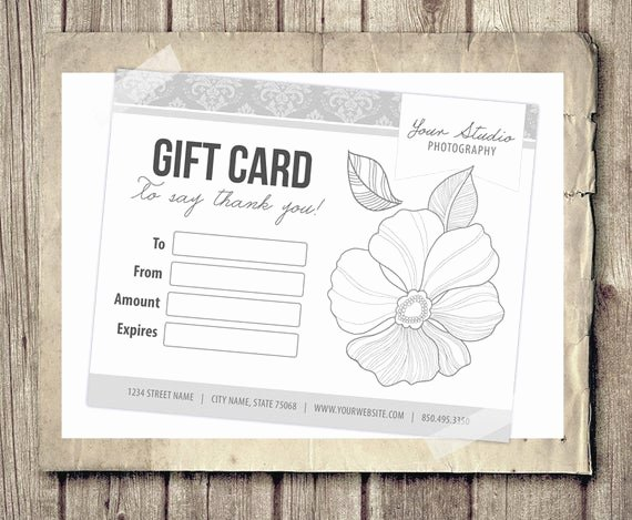 Photographer Gift Certificate Template Fresh Gift Card Certificate Template for Graphers Pink Damask