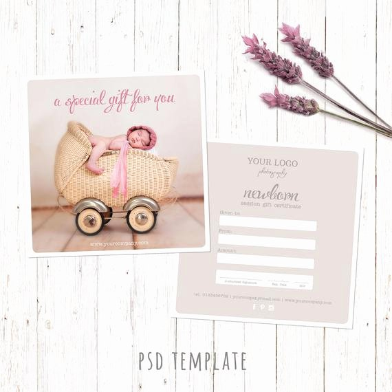 Photographer Gift Certificate Template New Gift Certificate Template Newborn Session Photography T