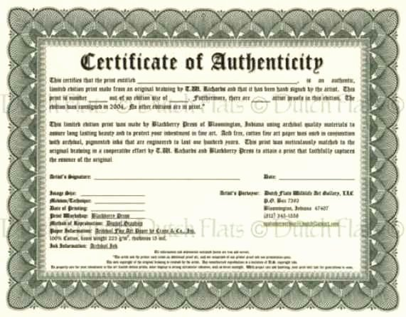 Photography Certificate Of Authenticity Template Awesome Certificate Authenticity Templates Word Excel Samples