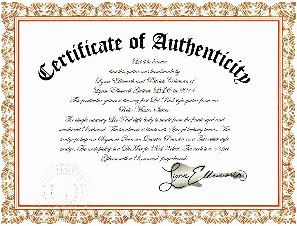 Photography Certificate Of Authenticity Template Beautiful 10 Authenticity Certificate Templates