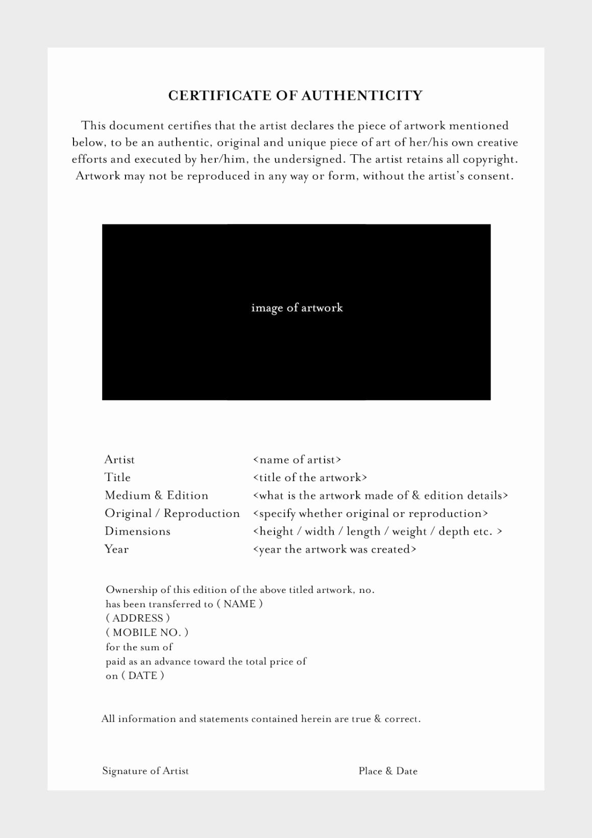 Photography Certificate Of Authenticity Template Luxury Certificate Authenticity Template