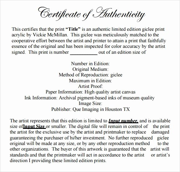 Photography Certificate Of Authenticity Template Luxury Sample Certificate Of Authenticity Template 9 Free