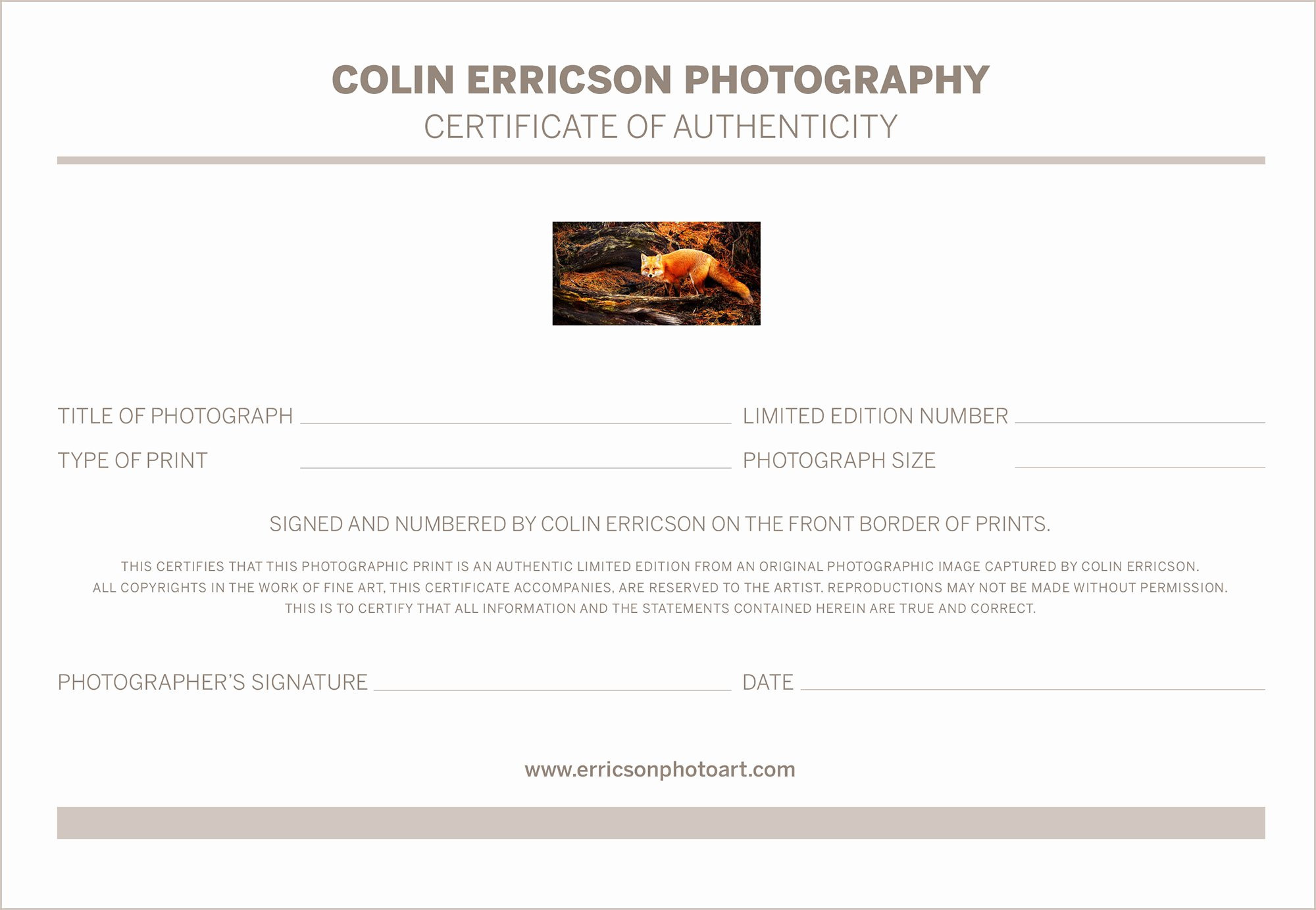 Photography Certificate Of Authenticity Template Unique Certificate Authenticity Graphy – Planner Template