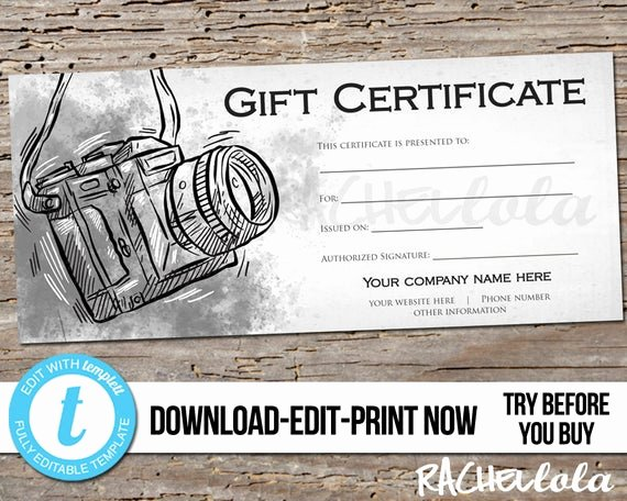 Photography Gift Certificate Template Awesome Editable Custom Printable Gift Certificate Template Mens