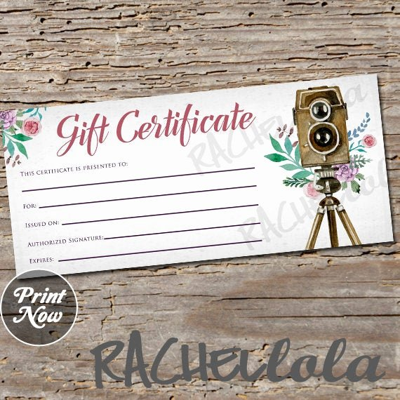 Photography Gift Certificate Template Free Download Fresh Floral Camera Stand Printable Gift Certificate Template