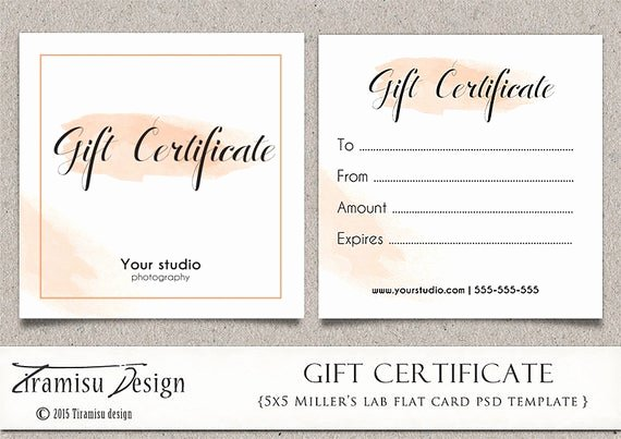 Photography Gift Certificate Template Luxury Graphy Gift Certificate Photoshop 5x5 Card Template