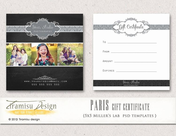 Photography Gift Certificate Templates Fresh Graphy Gift Certificate Photoshop 5x5 Card by