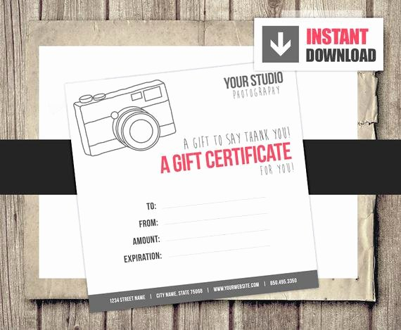 Photography Gift Certificate Templates Inspirational Gift Card Gift Certificate Template for Graphers Camera