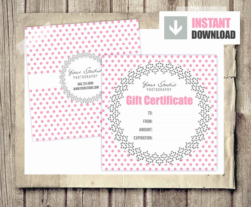 Photography Gift Certificate Templates Lovely Gift Card Gift Certificate Template for Graphers Pink