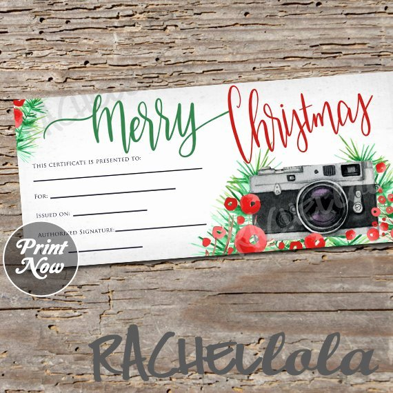 Photography Session Gift Certificate Template Beautiful Christmas Graphy Gift Certificate Printable Template