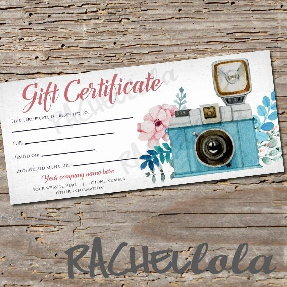 Photography Session Gift Certificate Template Lovely Custom Floral Camera Printable Gift Certificate Template