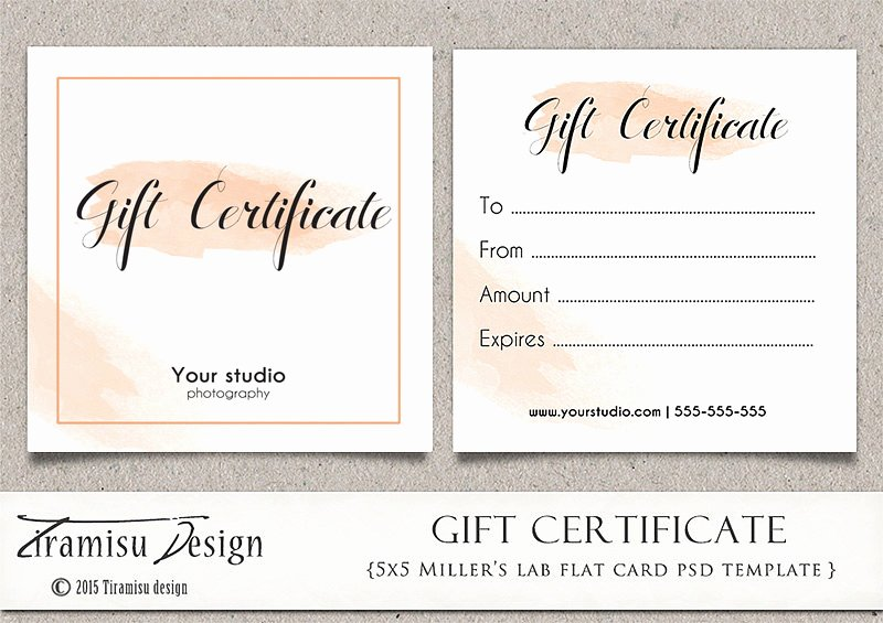 Photography Session Gift Certificate Template Lovely Graphy Gift Certificate Photoshop 5x5 Card Template