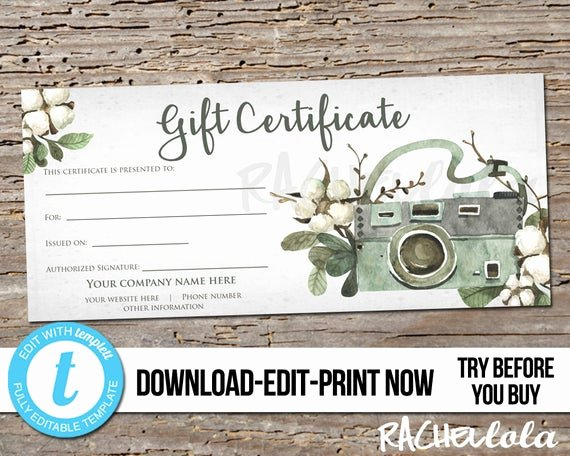 Photography Session Gift Certificate Template New Editable Custom Printable Gift Certificate Template