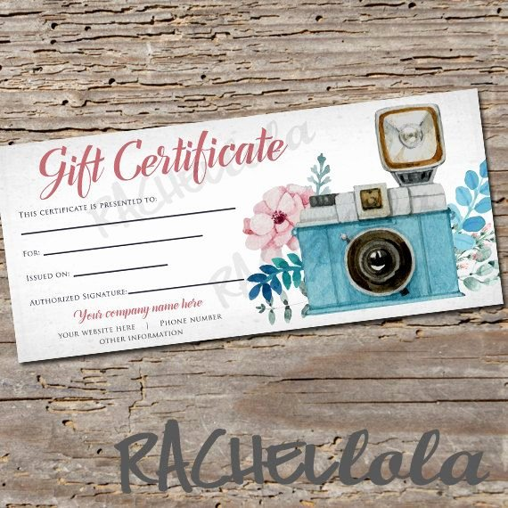 Photography Session Gift Certificate Template Unique Custom Floral Camera Printable Gift Certificate Template