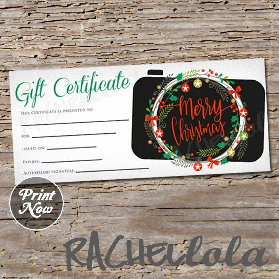Photography Session Gift Certificate Template Unique Printable Christmas Graphy Gift Certificate Template