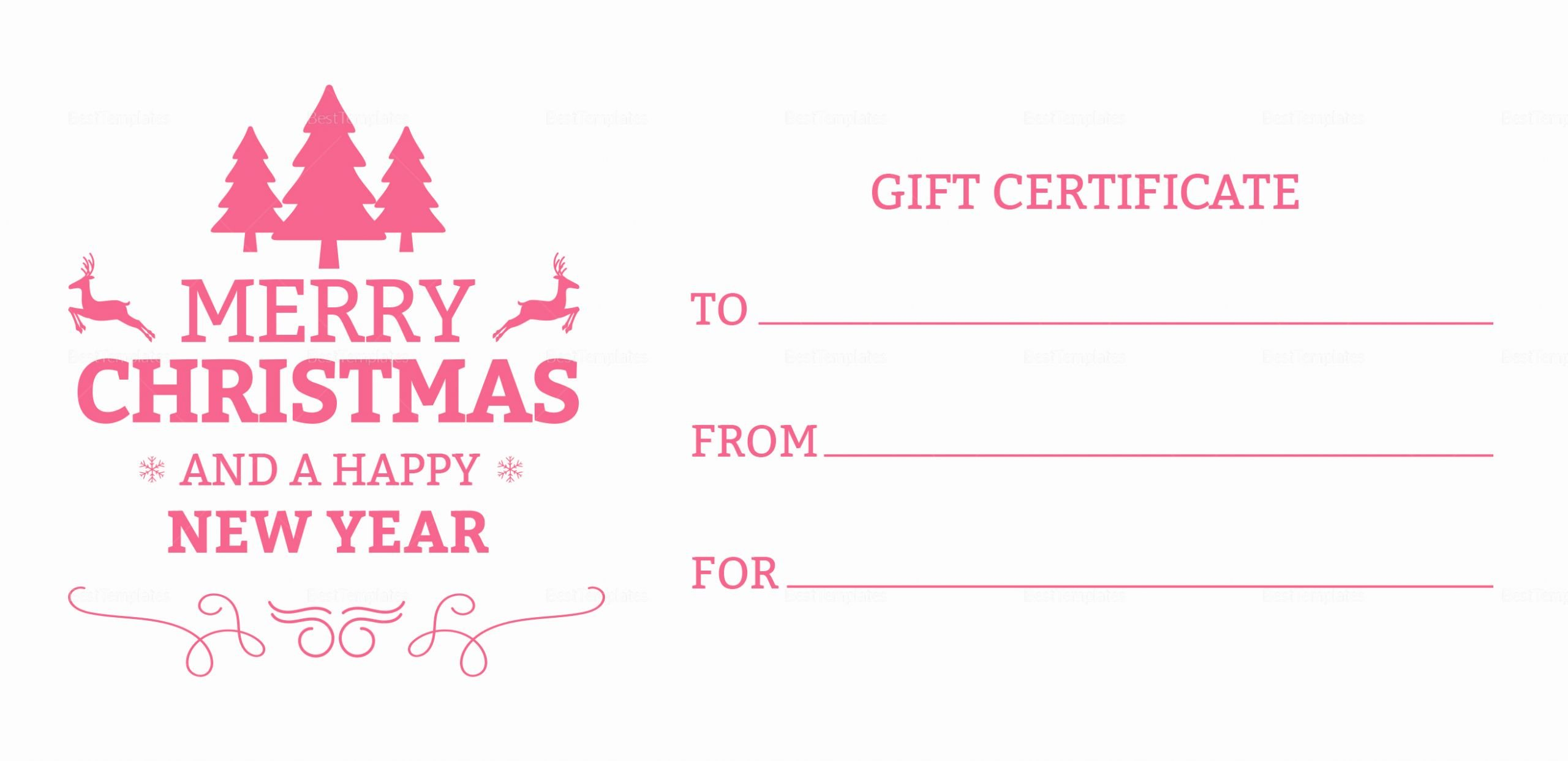 Photoshop Gift Certificate Template Awesome Modern Christmas Gift Certificate Template In Adobe Shop