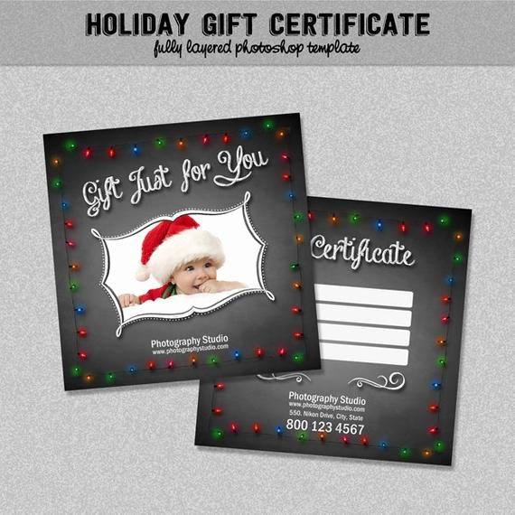Photoshop Gift Certificate Template Beautiful Holiday Marketing Gift Certificate Chalkboard & Lights