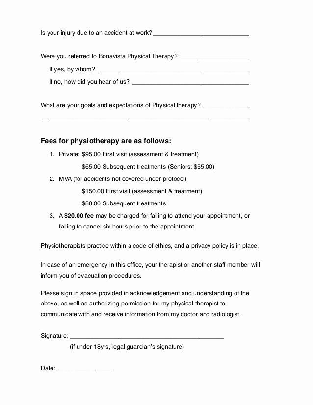Physical therapy Intake form Template Beautiful Calgary Physiotherapy General Intake form
