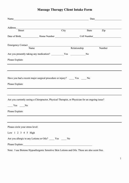 Physical therapy Intake form Template Luxury Massage therapy Client Intake form Printable Pdf