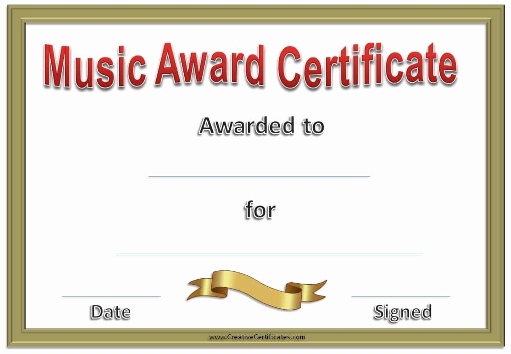 Piano Recital Certificate Template Awesome Free Editable Music Certificate Template Free and