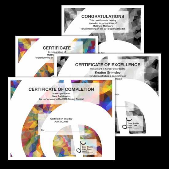 Piano Recital Certificate Template Awesome Recital Certificate Template Package Modern Design
