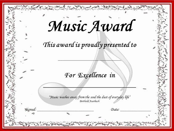 Piano Recital Certificate Template Elegant Music Award Certificates Editable