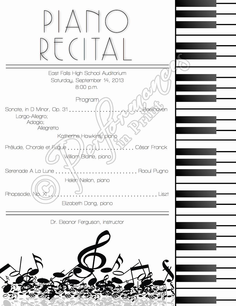 Piano Recital Certificate Template Elegant Piano Recital Concert Music Program