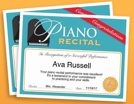 Piano Recital Certificate Template Fresh Piano Recital Certificate Piano Award Printables Child