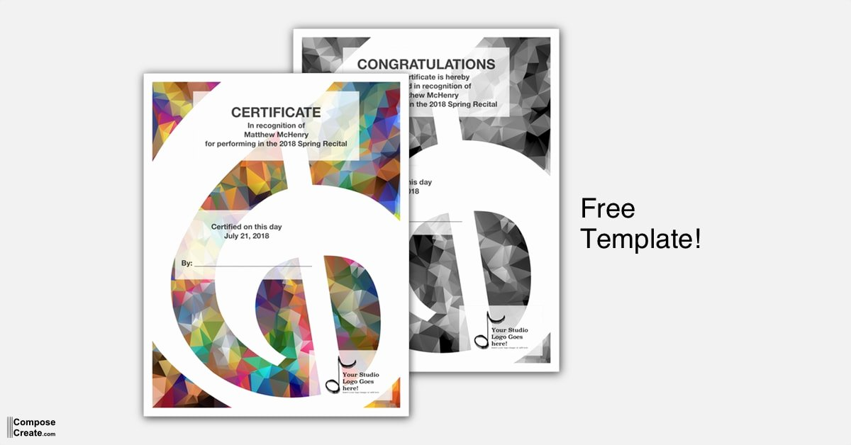 Piano Recital Certificate Template Lovely Recital Certificate Template Package Modern Design