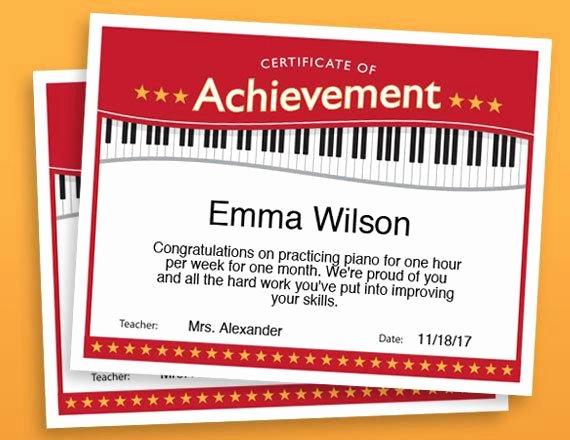 Piano Recital Certificate Template Luxury Piano Achievement Certificate Piano Award Printables Child
