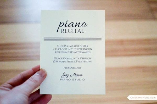 Piano Recital Certificate Template New 17 Best Images About Piano Recital Invitations On