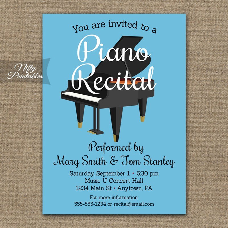 Piano Recital Certificate Template New Piano Recital Invitation Nifty Printables