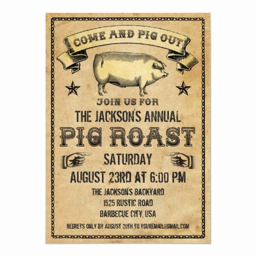 Pig Roast Invitation Template Free Beautiful 177 Pig Roast Invitations Pig Roast Announcements